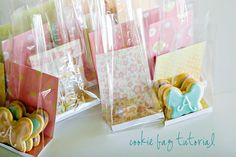 Use pretty card stock in cellophane bags for cookies and treats.   THIS IS A BAD LINK- I'm only pinning so I can do research and find the real link.