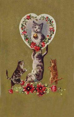 vintage valentine - kittens and flowers