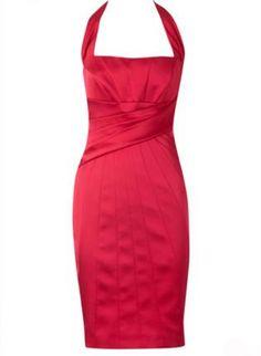 Satin Halter Dress Red K223R,  Dress, Satin Halter Dress Red, Chic $89.00