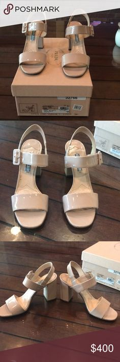 Prada Vernice heels Prada Vernice sandal heels purchased from Nordstrom. Size 36.5 in a nude patent. Heel height is 3.5 inches. Comes with box. Worn multiple times but is still in good condition. No trades! Prada Shoes Heels