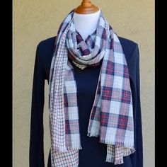 """Reversible Plaid Scarf ~Navy & Red Fantastic reversible scarf, one side multi-colored plaid... The reverse side small window-pane check.  See photos.  Great scarf as we transition into spring.  Very small fringe hem.  Size is  78"""" long  25"""" wide.   Brand new in package. Accessories Scarves & Wraps"""