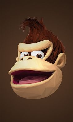 Illustrations Of Superheroes & Video Game Characters Made Of Triangular Shapes - Illustration Donkey Kong