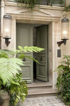 Limestone and soft green double doors with classic pulls. Like the color of the doors. Green Front Doors, Front Door Entrance, Front Door Colors, Front Entrances, Door Entryway, Front French Doors, Country Front Door, Unique Front Doors, Front Door Lighting