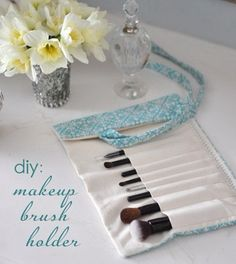 DIY Make-Up Brush Holder. Create an easy and attractive way to enhance and organize your vanity by crafting a DIY makeup brush holder with fabrics. It is also easy to carry when traverl out.