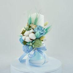 Christening Decorations, Candels, Aqua, Bouquet, Baby Shower, Concept, Handmade, Crafts, Wedding