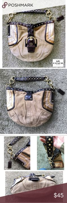 COACH Camel Suede Hobo Studded Bag  I have to admit, this bag is a little GLAM!✨ Coach Style # F10683. It's tan suede with a brown leather trim. It has gold hardware and gold studs throughout the bag. On the sides it has small panels of shiny gold & silver suede. It has a snap lock metal closure. Inside it has brown lining with a zipper pocket & regular pocket. It's a great bag for any Fall Fashion look!  In the 6th photo you'll see some very minor stains, but other than that it's in Great…