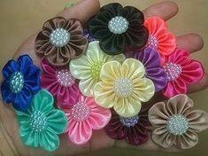 DIY Kanzashi | Haarschmuck Schmetterling aus Satinband basteln | Satin ribbon butterfly hair clip - YouTube