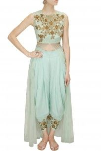 Mint floral embroidered patiala pant