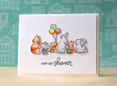 Super cute handmade baby shower card from Laura Bassen featuring the Mama Elephant New Family stamp set.