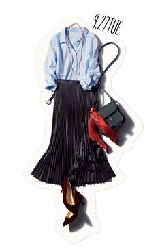 印象的スカート&ボルドーカラーで、シャツスタイルを秋へと更新!-@BAILA ワタシを惹きつける。モノがうごく。リアルにひびく。BAILA公式サイト|HAPPY PLUS(ハピプラ)集英社