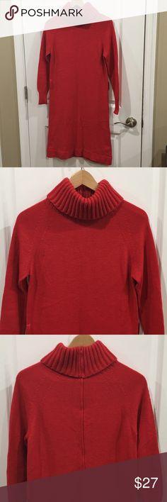 Vintage red orange knit turtleneck sweater dress Pristine condition red orange knit turtleneck long sleeve sweater dress. Belt loops, zip up back. Fold over knit turtleneck. Marked size 10, tag says Caprise by Hadley. Vintage Dresses Long Sleeve