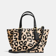 fe3fff857bb68 Coach Crosby Mini Carryall in Ocelot Print Crossgrain Leather