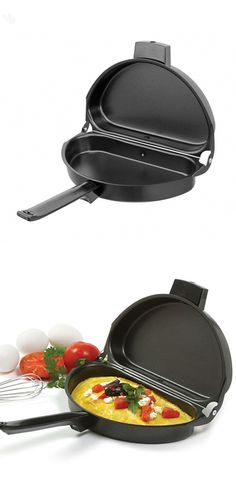 This ingenious nonstick omelet pan ensures all the glory of tasty, neatly-shaped breakfast foods with none of the extra cleanup. Cool Kitchen Gadgets, Cool Kitchens, Kitchen Stuff, Kitchen Supplies, Kitchen Tools, Kitchen Dinning Room, Kitchen Necessities, Kitchen Equipment, Learn To Cook