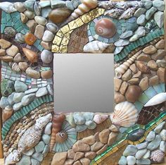 Beachcombing 10 by 10 Glass tile, pebbles, shells, 24k gold Minerva Mosaics