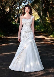 Fit-N-Flare One-Shoulder Floor Length Attached Silky Satin Ruching/ Embroidery Wedding Dress Style D1036