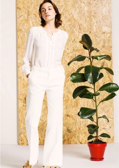 Pantalon blanc évasé Tara Jarmon Collection printemps Ete 2016