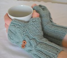 Owl Cable Knit Fingerless Mittens // PDF KNITTING PATTERN. $3.50, via Etsy.