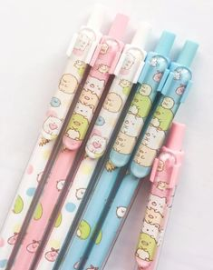 Kawaii import *My Dream* kawaii fruit cat blue ink rollerball pens