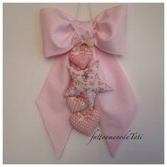 Fiocco nascita in piquet di cotone rosa con stella e cuori, by fattoamanodaTati, su misshobby.com