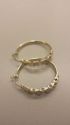 10K Yellow Gold Hoop Earrings With Diamonds. by TheGoldenLoot