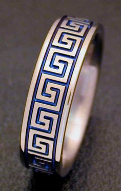 Greek Key jewelry for color and style inspiration! This piece is a man's ring. The pattern is greek key. Key Jewelry, Greek Jewelry, Cute Jewelry, Jewelry Rings, Jewelery, Jewelry Accessories, Fashion Accessories, Fashion Jewelry, Jewelry Design
