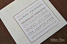 Woodgrain Letterpress PRINTED wedding invitation. Shown with 2 Color Letterpress printing by ChelseaPress on Etsy https://www.etsy.com/listing/262969714/woodgrain-letterpress-printed-wedding?ref=shop_home_active_6