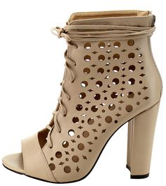 EVA NUDE OPEN TOE MULTI CUT OUT LACE UP CHUNKY HEEL ONLY $10.88