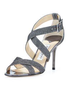 c7ea55fd2e344a Jimmy Choo Dark Silver Glitter Open Toe Chris Cross Open Toe Sandal with a  Medium Heel