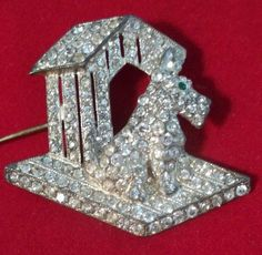 Vintage Pave Rhinestone Dog House Brooch Amazing 1930's 1940's Figural | eBay