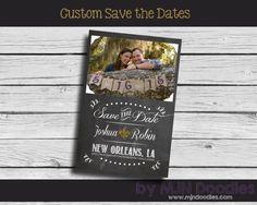 Custom Chalkboard Save The Dates - Digital File - Printable - Burlap - Chalkboard - Weddings - Vintage - Rustic - Pick your style