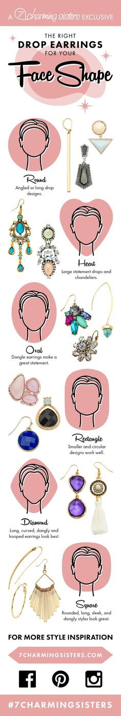 for face shape Drop earrings for round faces; Drop earrings for square faces, drop earrings for rectangle faces Haircut For Square Face, Square Face Hairstyles, Face Shape Hairstyles, 50s Hairstyles, Hairstyle Ideas, Rectangle Face Shape, Diamond Face Shape, Face Earrings, Big Earrings