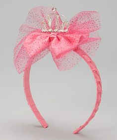 Fuchsia Glitter Tiara Bow Headband #zulily #zulilyfinds