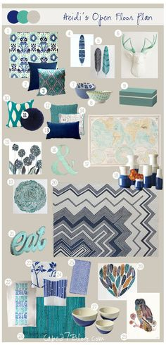 Loft: Blue turquoise neutrals...add a splash of mustard yellow