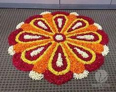 Floral rangoli Easy Rangoli Designs Videos, Rangoli Designs Flower, Rangoli Patterns, Colorful Rangoli Designs, Rangoli Ideas, Rangoli Designs Diwali, Diwali Rangoli, Flower Rangoli, Beautiful Rangoli Designs