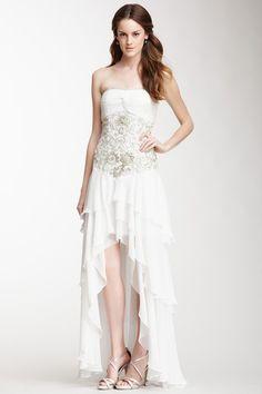 Sue Wong Strapless Cascading Ruffle Dress