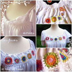 """el blog de Lauri: crochet > blusa """"tuneada"""" con crochet. me encanta!  :)"""