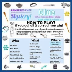 Clue Games, Pc Games, Pampered Chef Party, Business Inspiration, Food To Make, Treats, Posts, Cher, Cooking