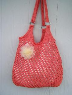 Crochet Hobo Bag Market Tote Beach Bag by SoLaynaInspirations
