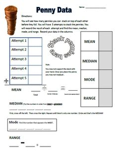 Mean, median, mode, and range math activity using pennies. Perfect for Presidents' Day.