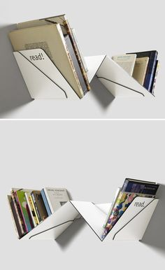 Bookshelf that separates the books you've finished from those you haven't read yet. By Austrian designer Robert Stadler.
