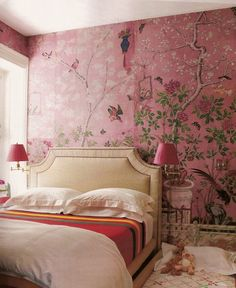 The same pink room as above. Amazing how the red prevents the room from being too pinky girly