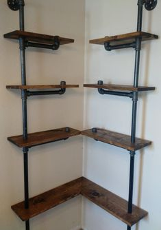 A unique take on a Black Iron Pipe shelf, this shelf combines the industrial aesthetic with a contemporary look as each ascending shelf recedes