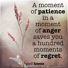 A Moment of Patience in a moment of anger saves you a hundred moments of regrets. Daily Quotes, Great Quotes, Quotes To Live By, Life Quotes, Inspirational Quotes, Awesome Quotes, Deep Quotes, Meaningful Quotes, Wisdom Quotes