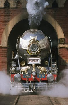 Decorated Indian Railways Steam Locomotive ~Repinned Via X Train www.corbisimages....
