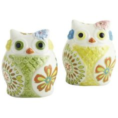 Colorful Owls Salt & Pepper Shakers, Pier 1, $9.95...i think i would put actual spices in these for my coffee in the morning! [cinnamon in one, nutmeg in the other]  Need Kitchen Decorating Ideas? Go to Centophobe.com | #Kitchen #kitchen decorating ideas