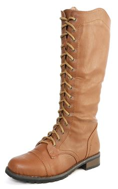 c9d14f207bcc4 Pisa17 Laced Up Knee High Boots CAMEL