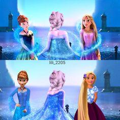 Anna and Rapunzel get dresses from Elsa Frozen Disney, Frozen And Tangled, Frozen Elsa And Anna, Disney Magic, Elsa Anna, Disney Princess Instagram, Disney Princess Art, Disney Crossovers, Disney Movies