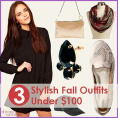 3 Fall Outfits Under $100. Easy ways to mix jeans, scarves, and low-cost flats and boots for great casual fall outfits.
