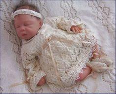 Baby Knitting Pattern 9 TO KNIT Niamh Girls Christening Dress Headband Booties Baby Knitting Patterns, Love Knitting, Baby Booties Knitting Pattern, Baby Patterns, Bb Reborn, Reborn Baby Dolls, Beanie Babies, Girls Christening Dress, Baby Girls