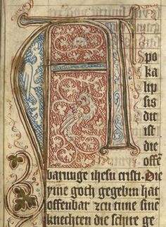 Detail of large pen flourished initial with zoomorphic grotesques at the beginning of the Book of Revelation, Germany (?Erfurt), c.1350-C. 1370, http://www.bl.uk/manuscripts/FullDisplay.aspx?ref=Add_MS_15243
